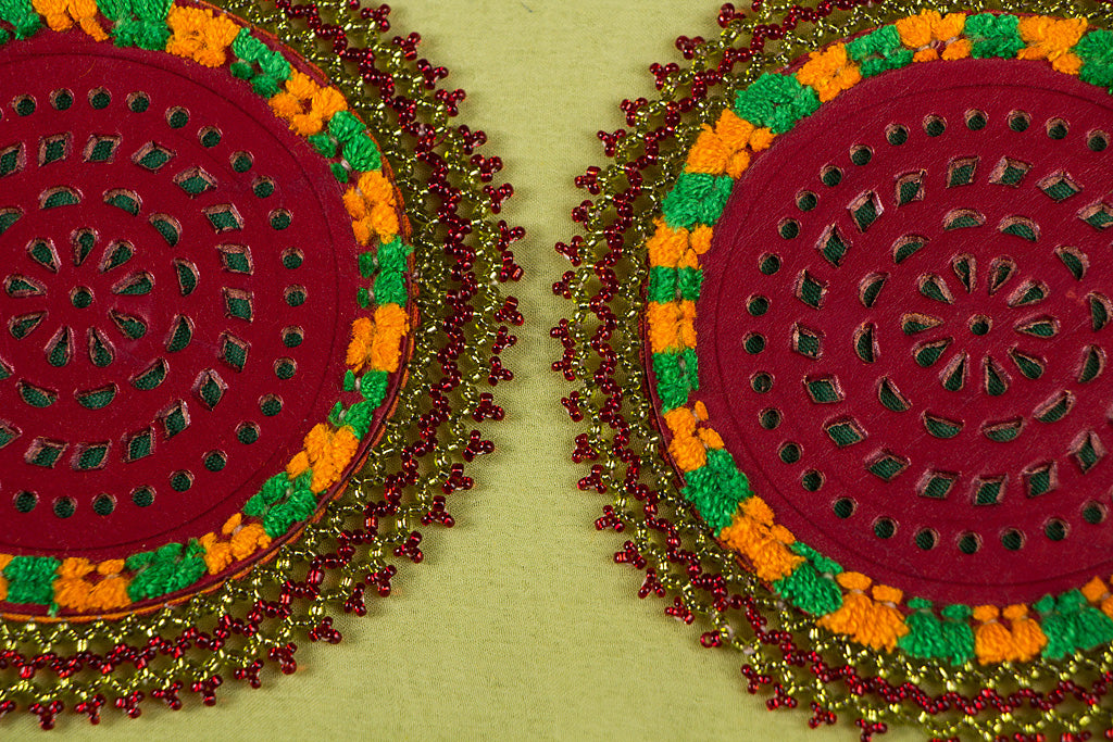 Handcrafted Kutch Leather Bead Work Coasters (Set of 2)