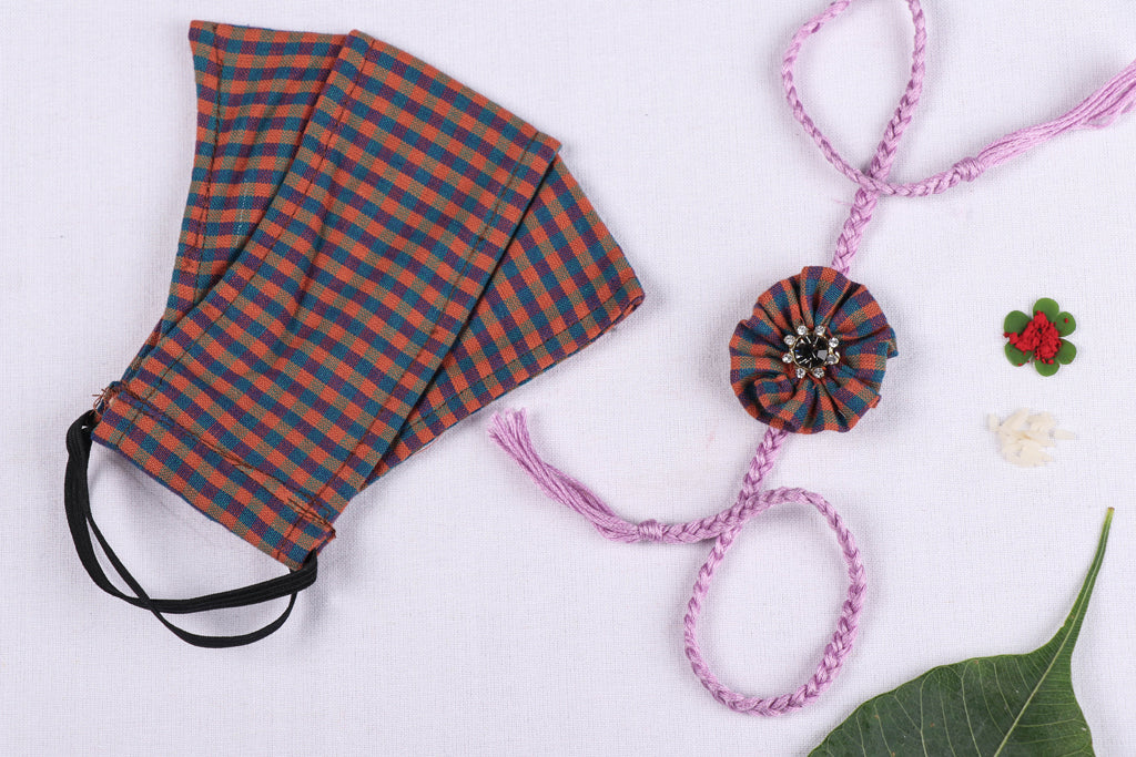 Rakhi & Mask Combo - 3 Layer Organic Kala Cotton Pure Handloom Check Fabric Maska Fit Face Cover With Rakhi