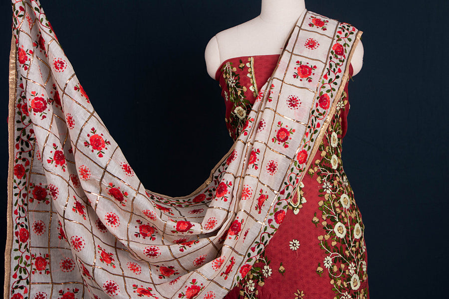 Phulkari Embroidered Silk Cotton 3pc Suit Dress Material