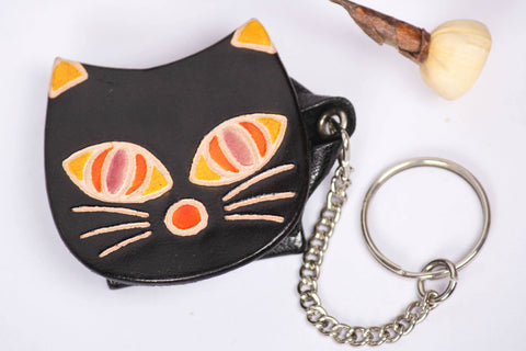 Smiling Cate Leather Keychain