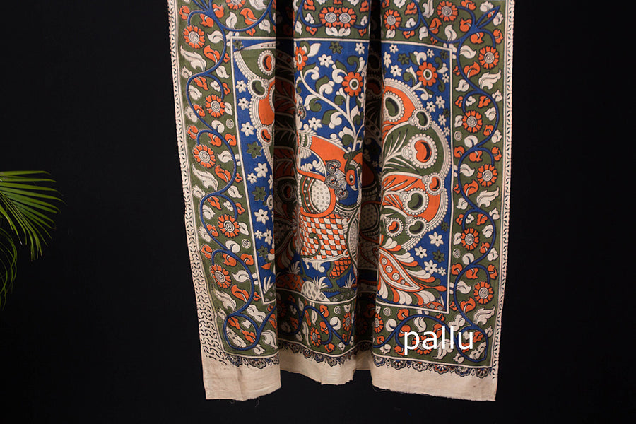 Kalamkari Print Cotton Saree with Blouse piece