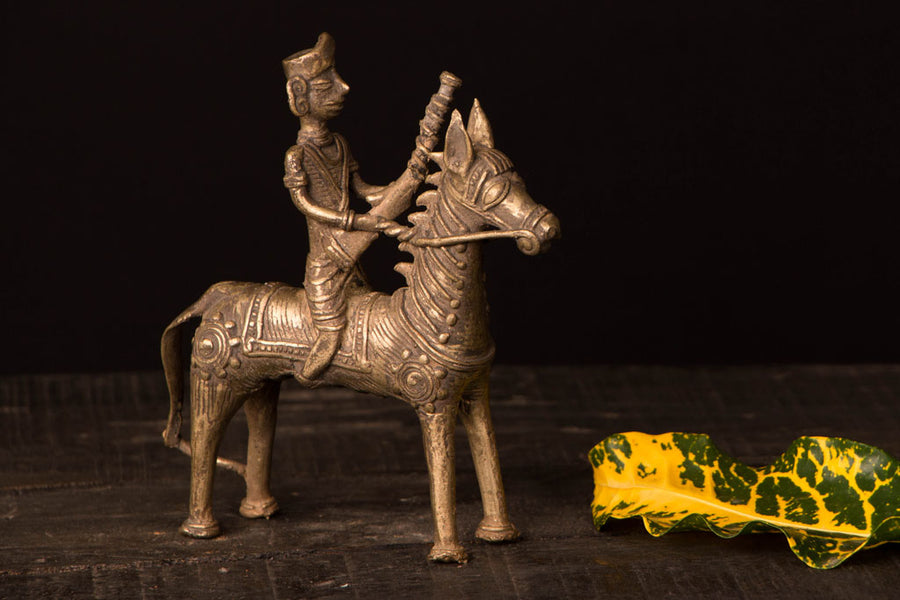 Tribal Bastar Dhokra Craft - Horse with Man