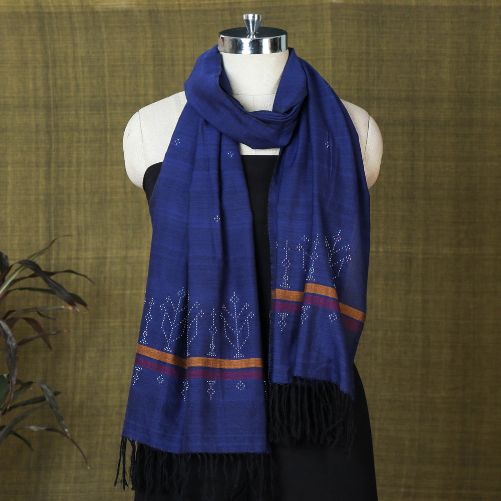 Tangaliya Work Handwoven Cotton Stole with Tassels