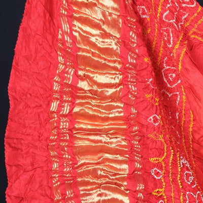 Original Gajji Silk Kutchhi Bandhani Heavy Work 3pc Suit Material Set
