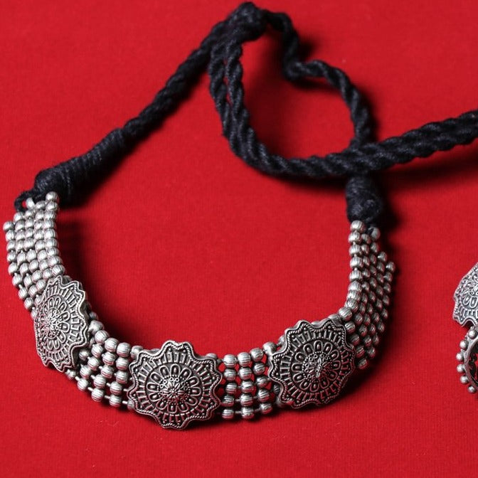 Antique Finish Necklace Set in Oxidised Special Brass Base