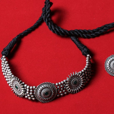 Antique Finish Stone Necklace Set in Oxidised Special Brass Base