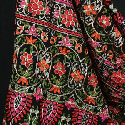 Phulkari Embroidered Silk Cotton 3pc Suit Material Set with Chiffon Dupatta