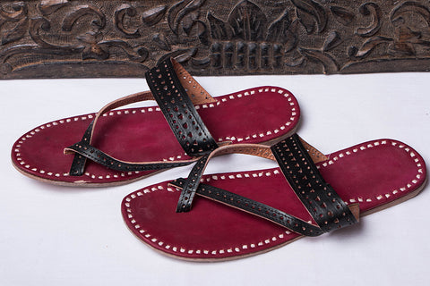 1de276696 bindaas unlimited · footwear · handmade · leather craft · Handstitched Leather  Slippers by Shyam Ji