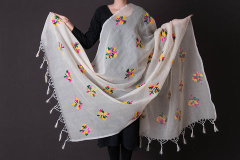 Traditional Phulkari Embroidered Kota Doria Silk Dupatta