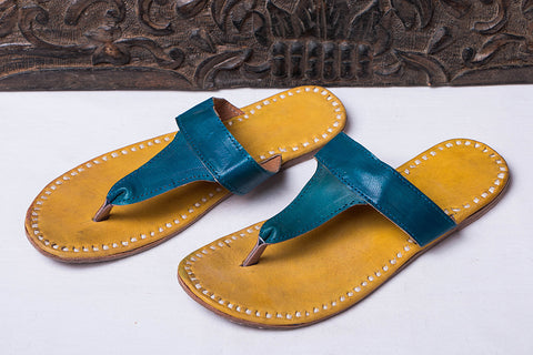 Handstitched Leather Slipper by Shyam Ji - UK/India Size - 6