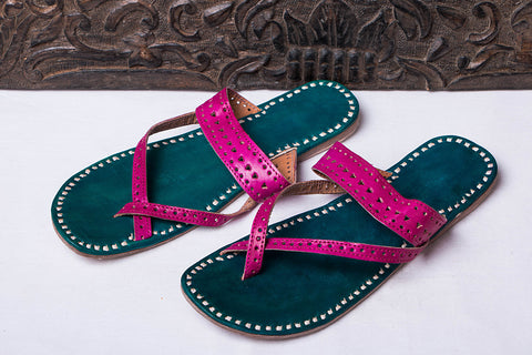 Handstitched Leather Slipper by Shyam Ji - UK/India Size - 8
