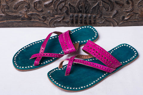Handstitched Leather Slipper by Shyam Ji - UK/India Size - 5