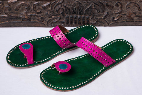 Handstitched Leather Slipper by Shyam Ji - UK/India Size - 9