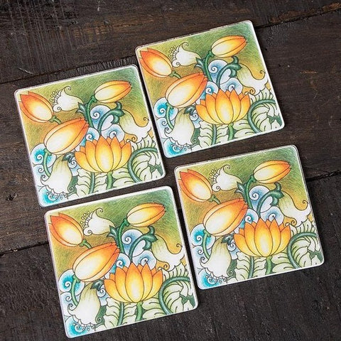 Kerala Mural Digital Printed Coasters (set of 6)