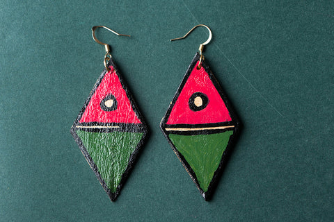 Madhubani Handpainted Gamhar Wood Earrings