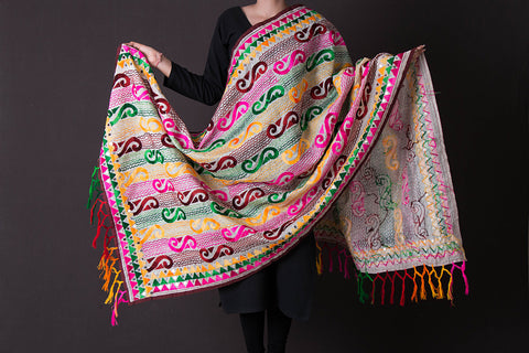 Traditional Phulkari Embroidered Chanderi Silk Cotton Dupatta