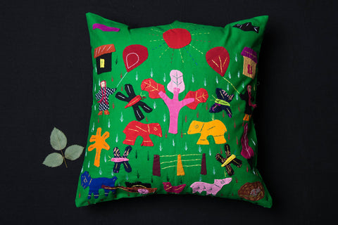 Pipli Applique Work Cotton Cushion Cover (16 x 16 inches)