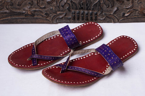 Handstitched Leather Slipper by Shyam Ji - UK/India Size - 7