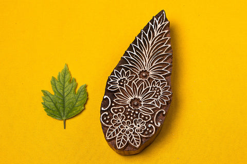 Wall Hanging Hand Carved Sheesham Wood Block (Large)
