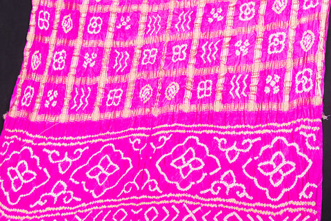 Pure Gaji Silk Zari Checks Traditional Gharchola Bandhani Saree