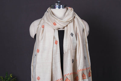Traditional Godana Handpainted Spun Silk Handloom Stole