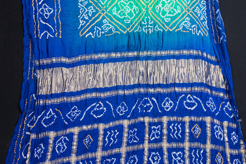 Pure Gaji Silk Zari Checks Traditional Bavanbhat Bandhani Saree