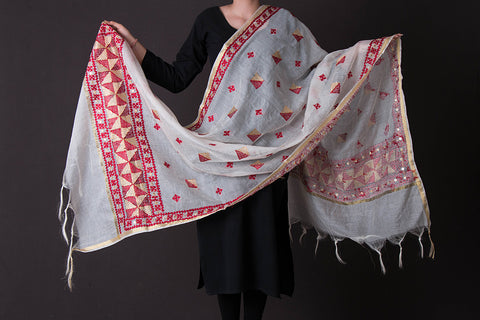 Traditional Phulkari Embroidered Kota Doria Zari Dupatta