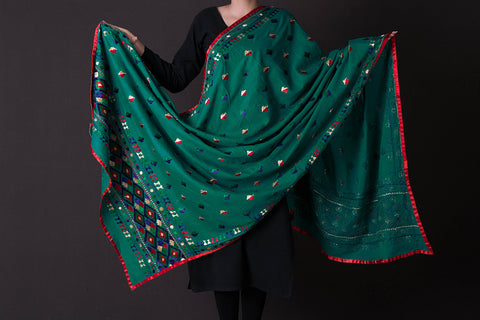 Traditional Phulkari Embroidered Cotton Dupatta