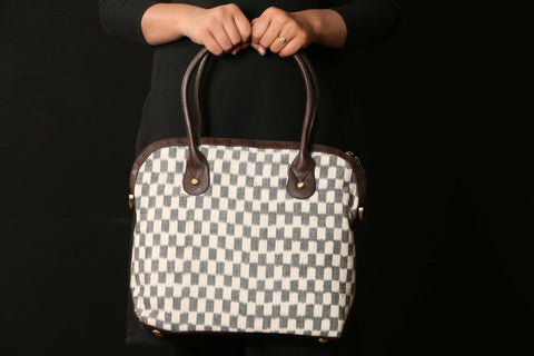 Pochampally Ikat Cotton Faux Leather Trim Tote Bag