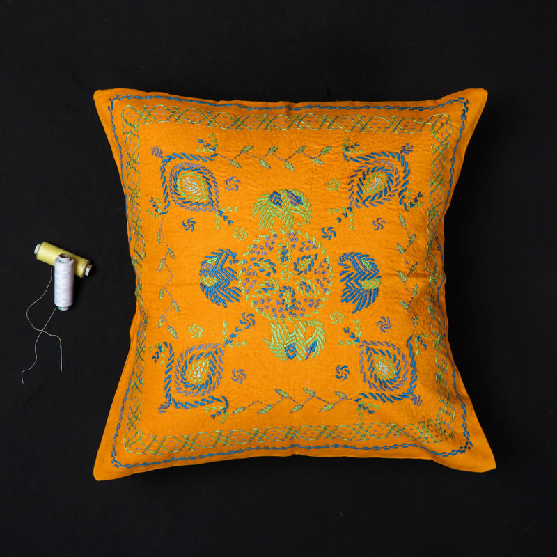 Floral - Kantha Hand Embroidered Pure Cotton Cushion Cover (16 x 16 in)