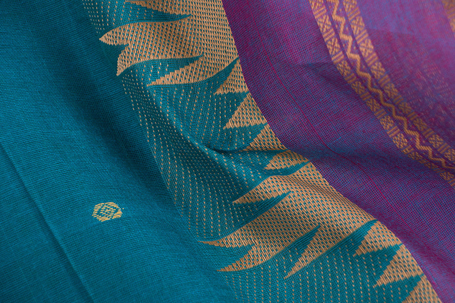 Kanchipuram Cotton Buti Fabric with Thread Border