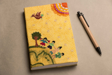 Handmade Embroidered Fabric Cover Notebook