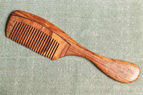 Handcarved Tarkashi Brass Inlay Sheesham Wooden Comb