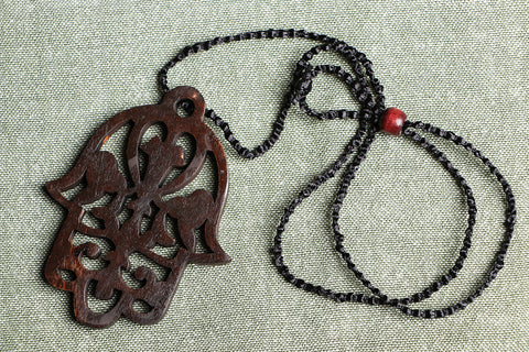 Handcarved Tarkashi Abnoos Wooden Pendant Necklace