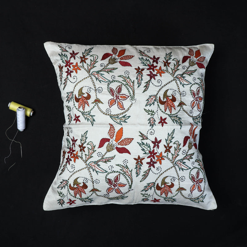 Floral - Kantha Hand Embroidered Pure Silk Cushion Cover (16 x 16 in)