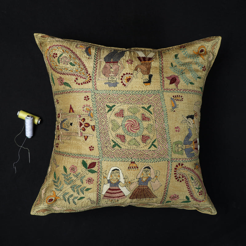 Kantha Hand Embroidered Pure Silk Cushion Cover (16 x 16 in)