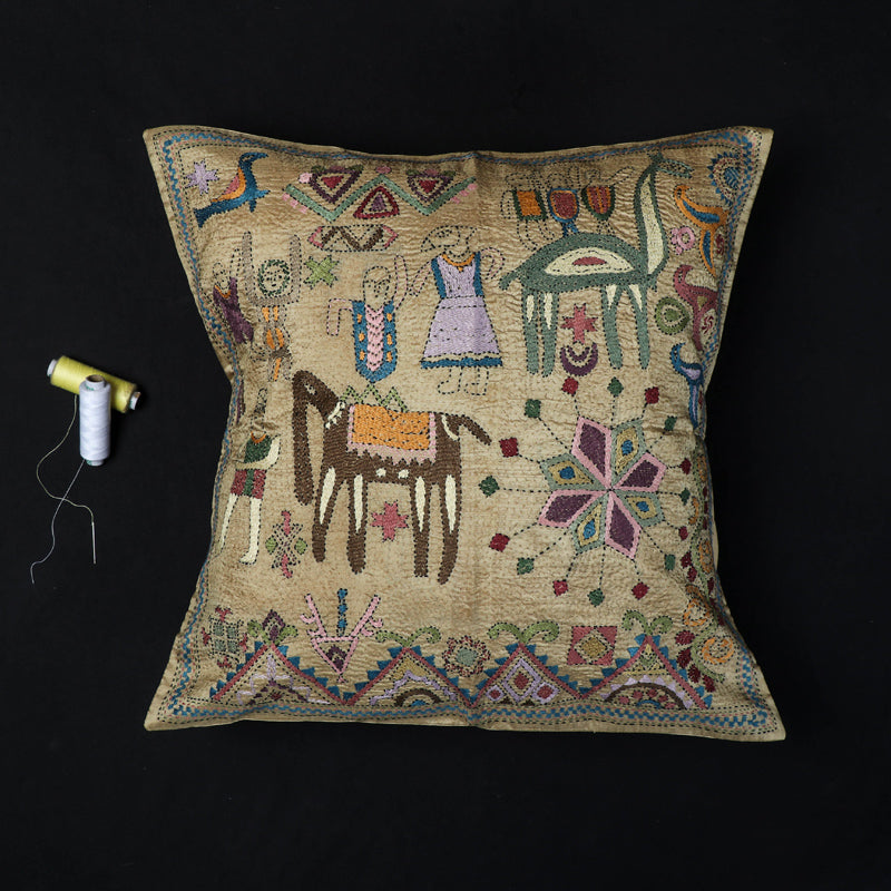 Mohenjo Daro - Kantha Hand Embroidered Pure Silk Cushion Cover (16 x 16 in)