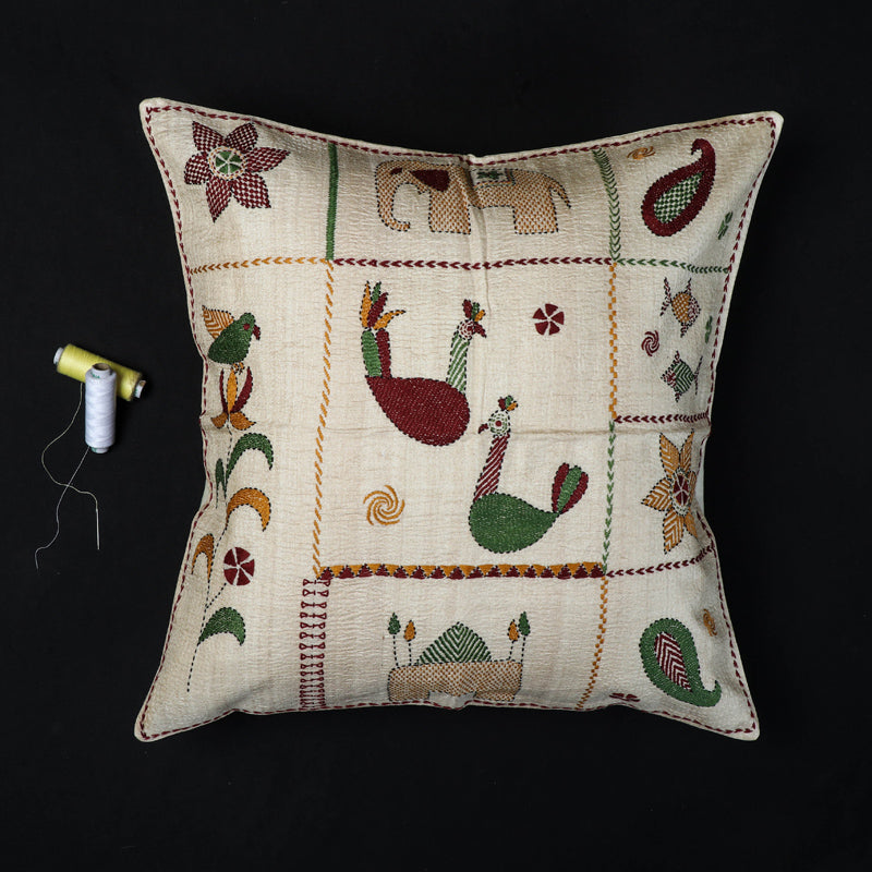 Folk Motifs - Kantha Hand Embroidered Pure Silk Cushion Cover (16 x 16 in)1