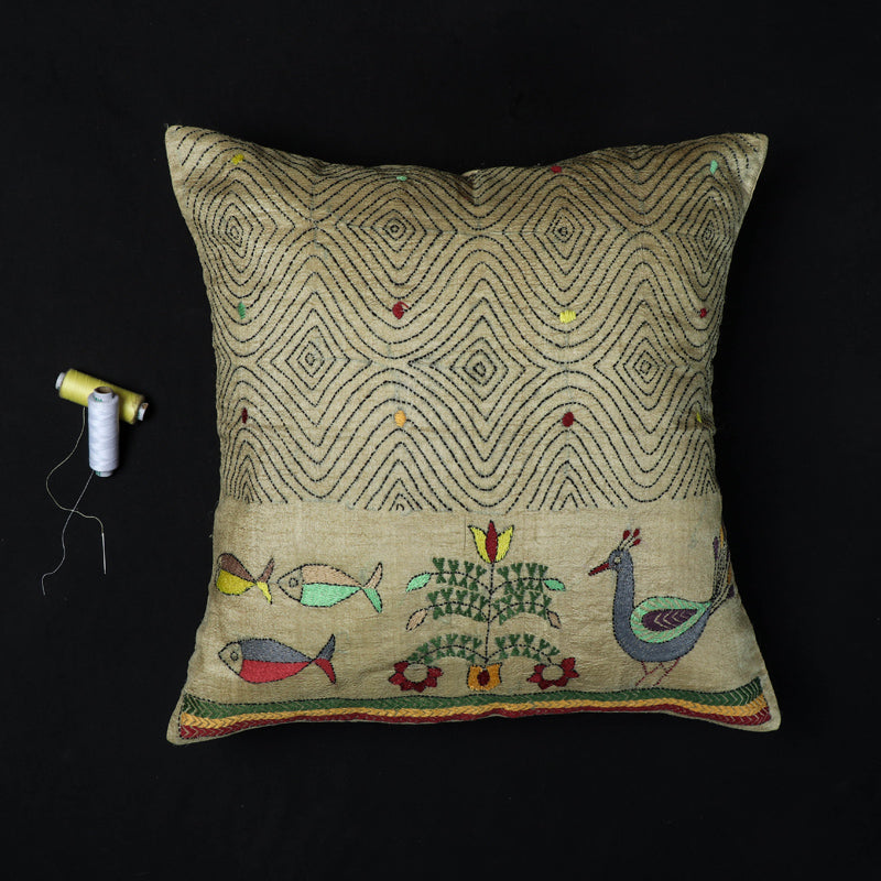 Peacock & Fish - Kantha Hand Embroidered Pure Silk Cushion Cover (16 x 16 in)