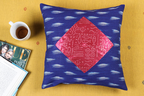 Noori Ikat & Modal Silk Block Print Cotton Cushion Cover (16 x 16 inches)