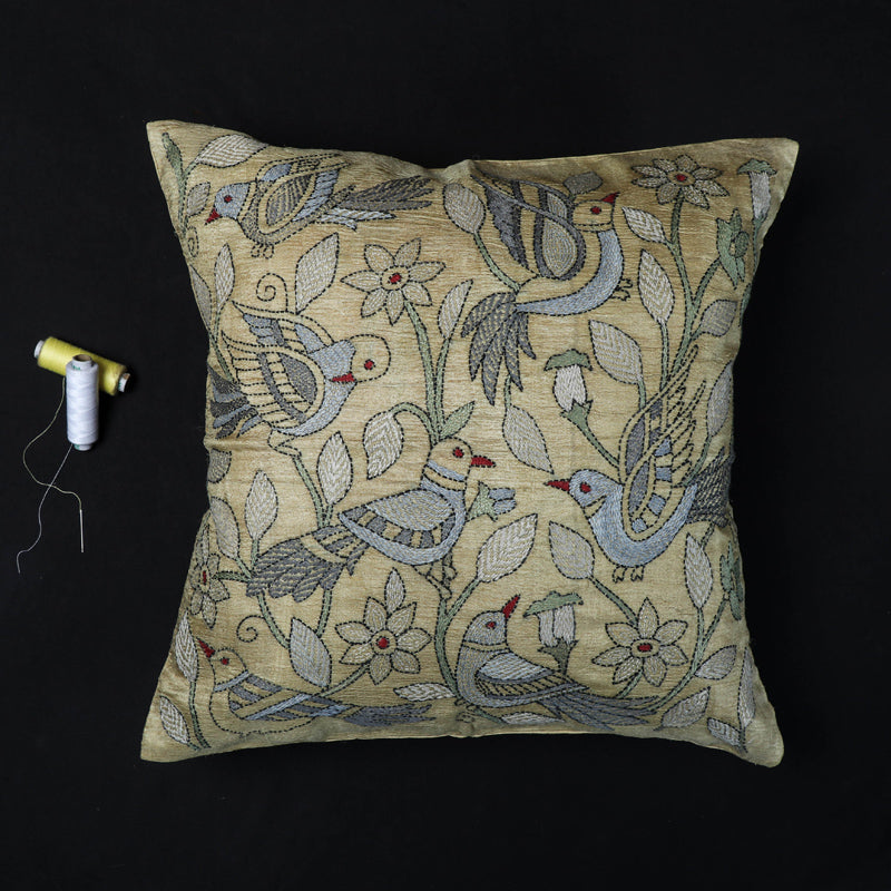 Dove - Kantha Hand Embroidered Pure Silk Cushion Cover (16 x 16 in)