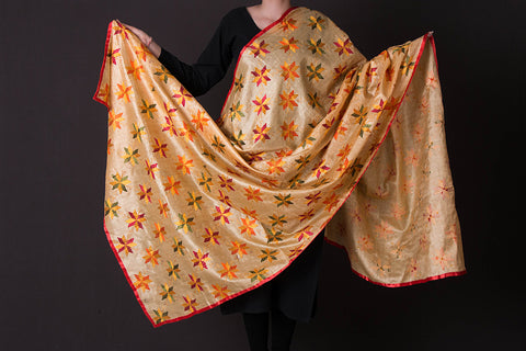 Traditional Phulkari Embroidered Silk Dupatta