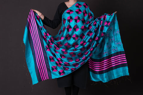 Traditional Phulkari Embroidered Tussar Silk Dupatta