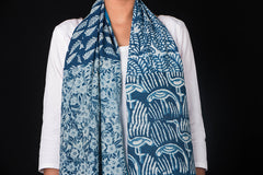 Indigo Patch Artwork Cotton Stole