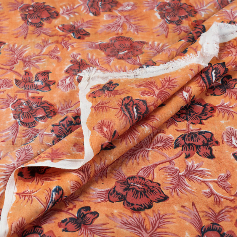 Exclusive Sanganeri Block Printed Handspun Handwoven Pure Mulberry Silk Cotton Fabric by Santosh Kumar Dhanopia