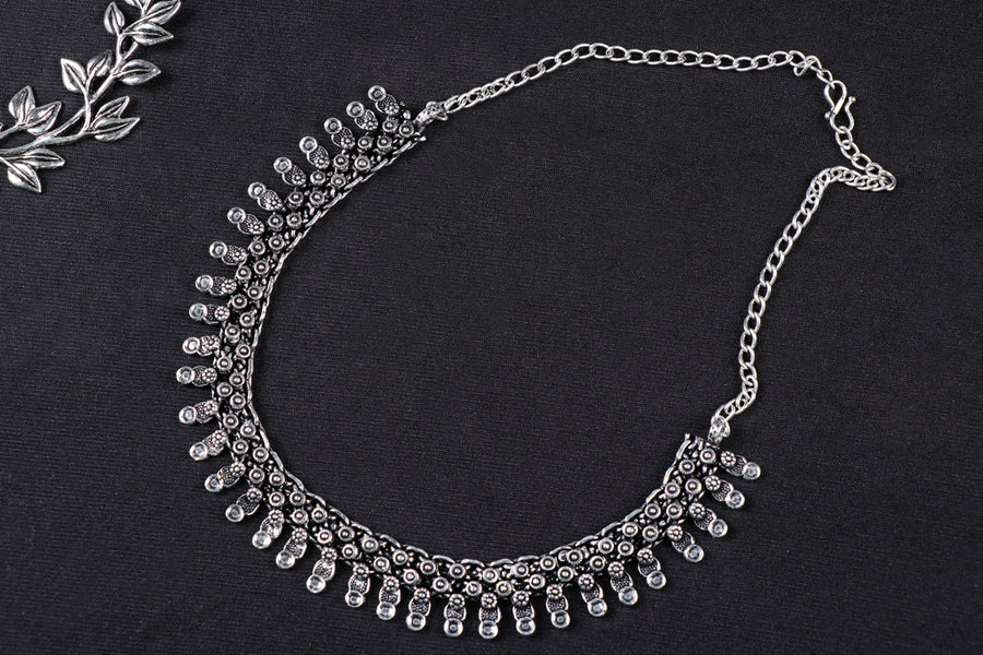 Antique Finish Oxidised German Silver Necklace