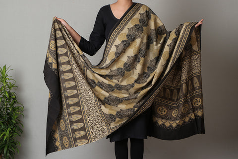 Ajrakh Screen Print Cotton Dupatta from Kutch