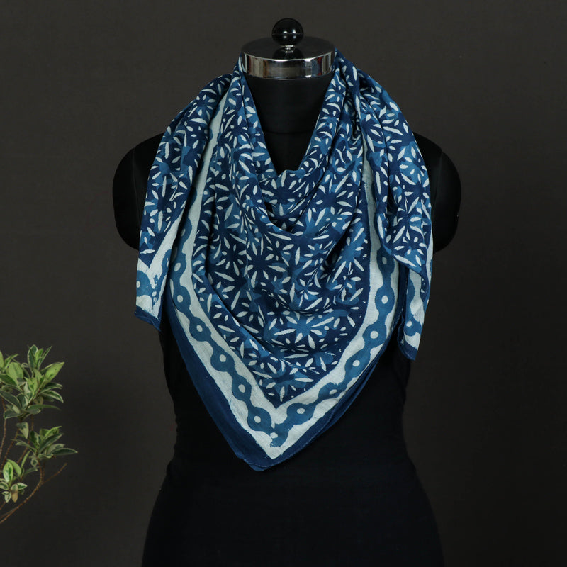 Indigo Hand Block Print Pure Cotton Scarf