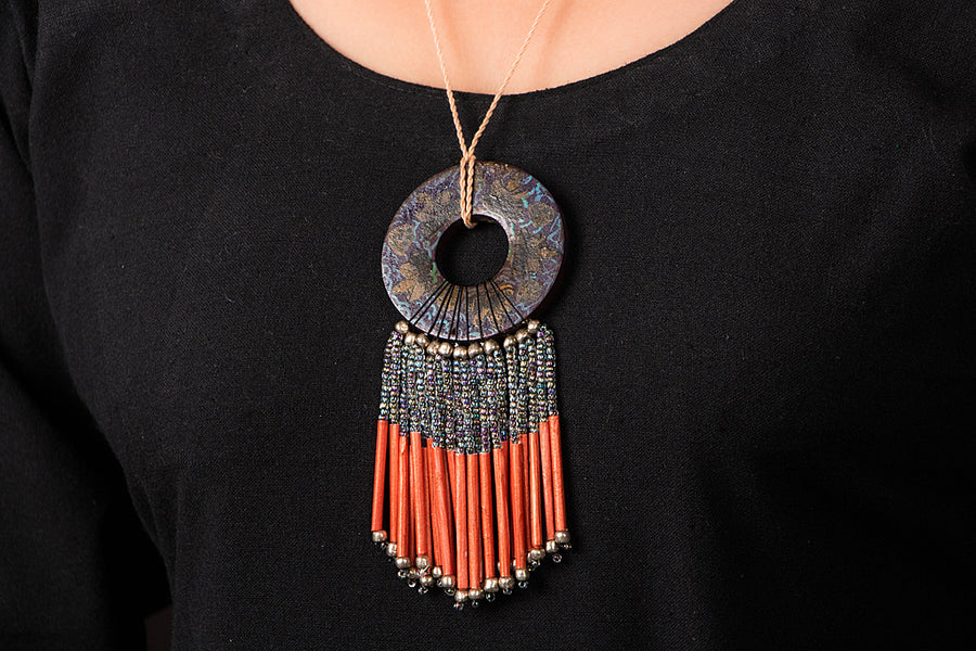 Paperjewelz Wooden Painted Necklace by Vrinda