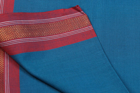 Blue - Dama Mangalgiri Handloom Cotton Fabric with Zari Thread Border